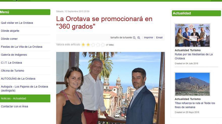 Noticia publicada el 12 de septiembre de 2015 en la web del Ayuntamiento, con Delia Escobar, Francisco Linares y Alberto Bernabé