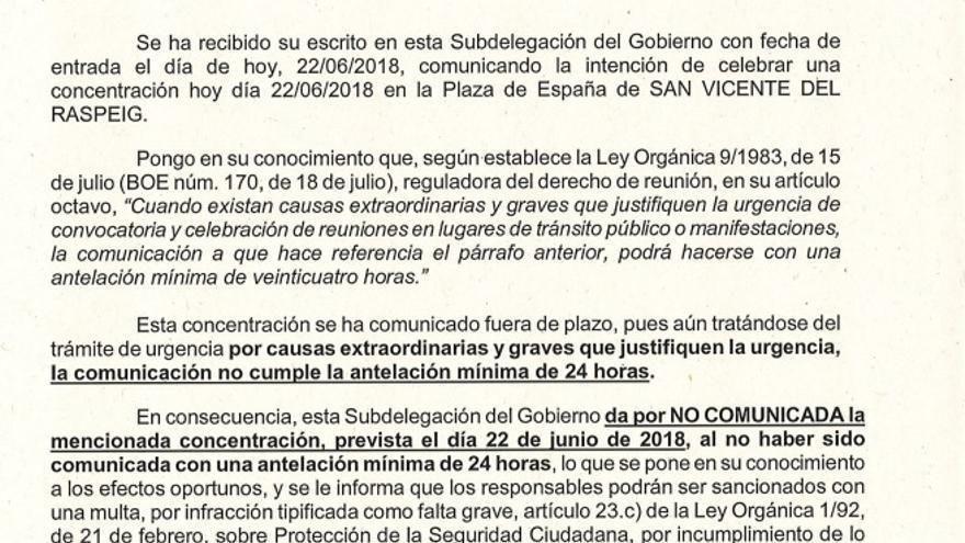 Escrito del subdelegado para negar el permiso a la concentración.