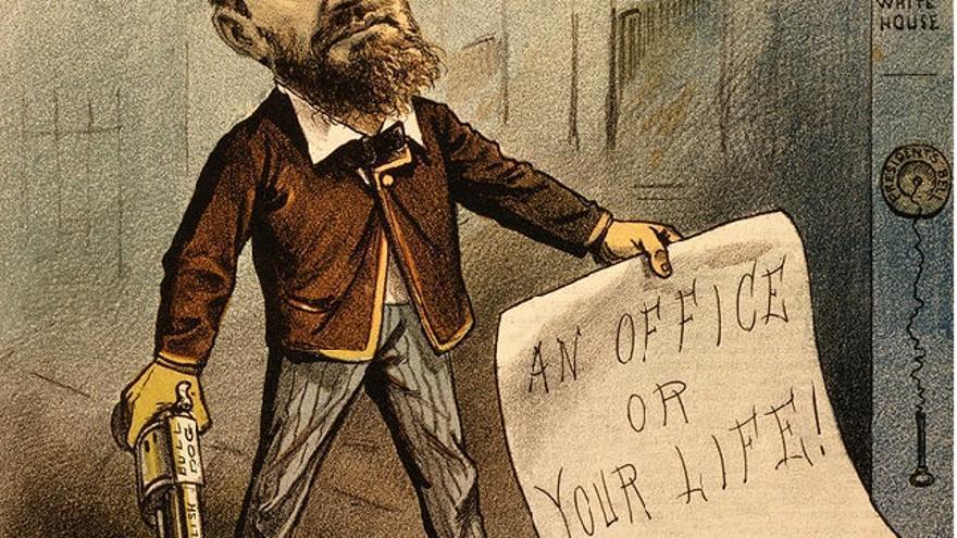 """Un cargo o tu vida"". Viñeta del asesino del presidente James Garfield"