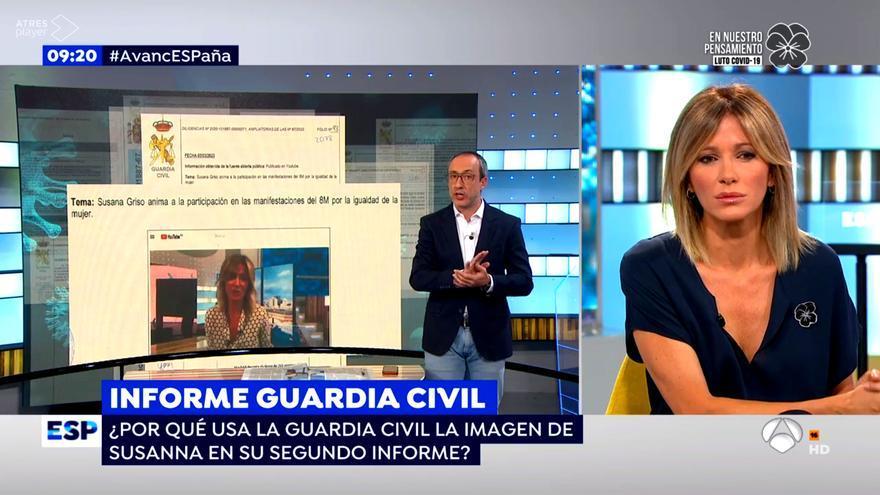 Susanna Griso, sorprendida al comprobar que aparece en un informe de la Guardia Civil sobre el 8M