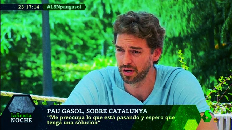 Pau Gasol, durante su entrevista en laSexta Noche