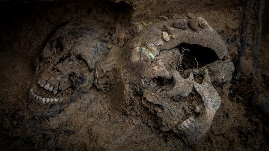 Restos encontrados en la fosa de Sádaba
