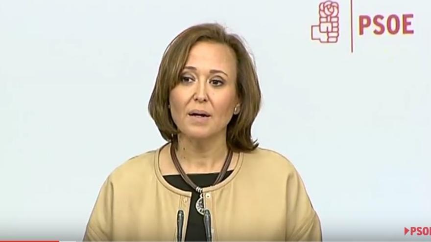 La consejera aragonesa de Educación Mayte Pérez, en la rueda de prensa de fijación de postura del PSOE en la Conferencia Sectorial.