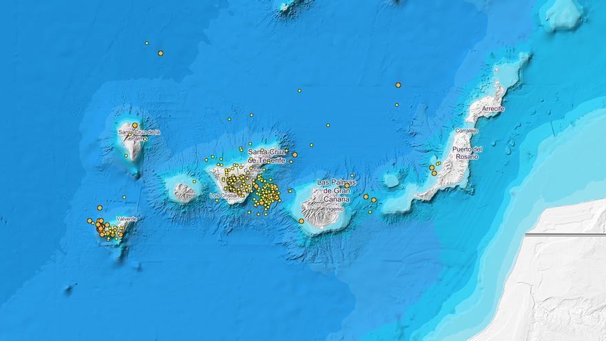 Terremotos registrados en Canarias en los últimos 90 días, según el IGN