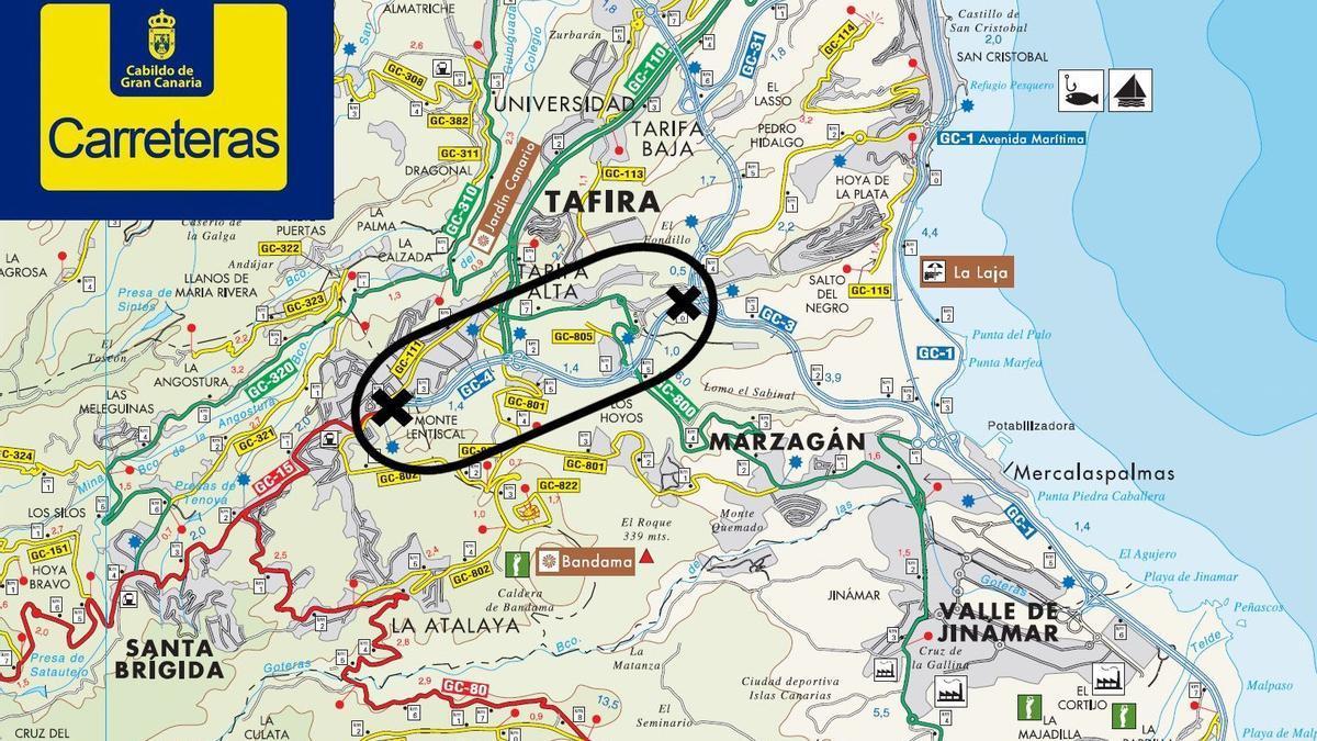 Cierre al tráfico de la GC-4 sentido Las Palmas de Gran Canaria durante la noche de este jueves