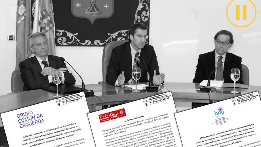 Peticiones de la oposición gallega para reabrir la investigación, sobre una imagen de Feijóo con Gayoso (Caixanova) y Méndez (Caixa Galicia)