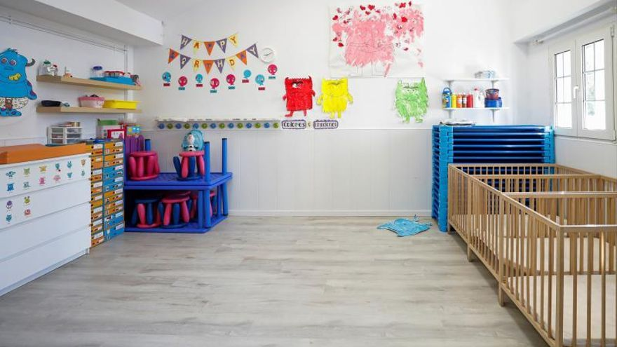 Sala vacía de una escuela infantil de Madrid.