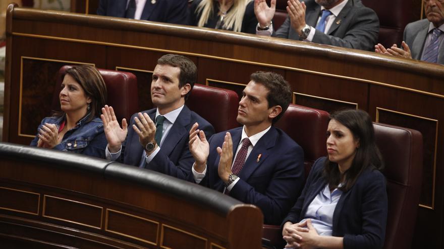Lastra, Casado, Rivera y Montero, este jueves, en el Congreso.