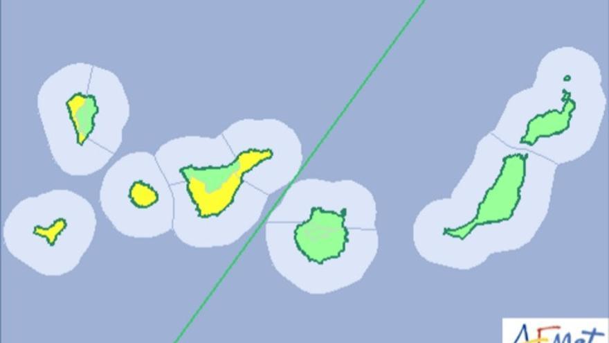 Aviso amarillo en la provincia occidental canaria por posible lluvia fuerte.
