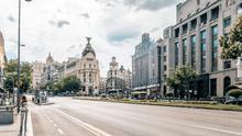 Madrid desde la calle Alcalá, sede de la Consejería de Cultura y Turismo