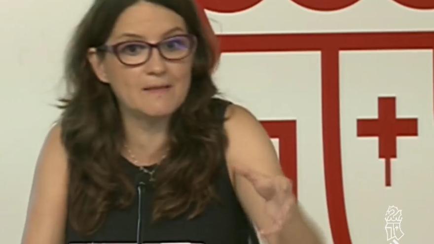 Mónica Oltra durante la rueda de prensa tras el pleno del Consell.