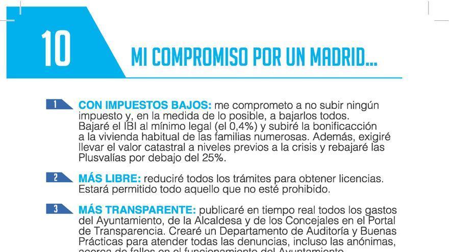 Los 10 compromisos electorales de Esperanza Aguirre para el 24M