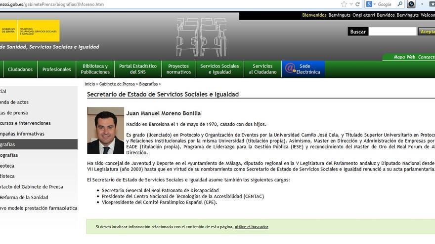 El currículum rectificado de Juan Manuel Moreno Bonilla en la página del Ministerio de Sanidad