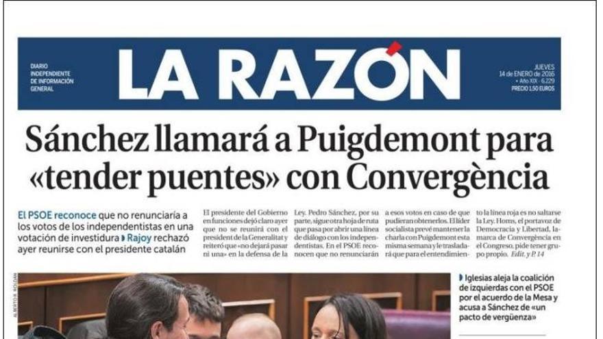 Portada de La Razón del 14 de enero de 2016.