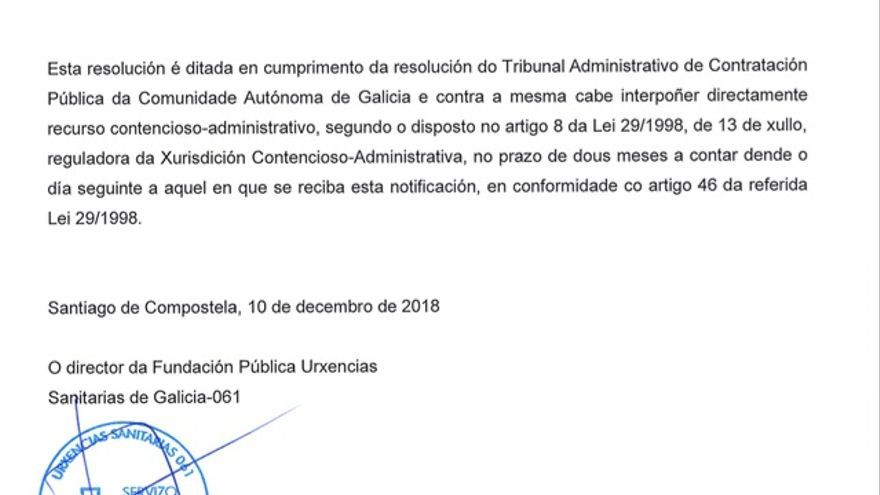 Fragmento de la resolución que vuelve a paralizar la renovación del contrato de los helicópteros del 061 gallego