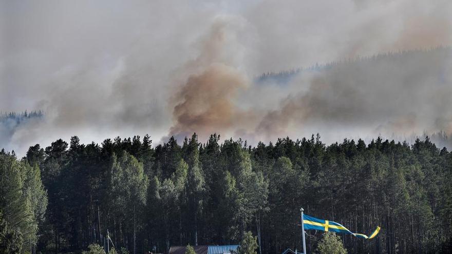 Incendio en un bosque de Enskogen (Suecia) en verano de 2018