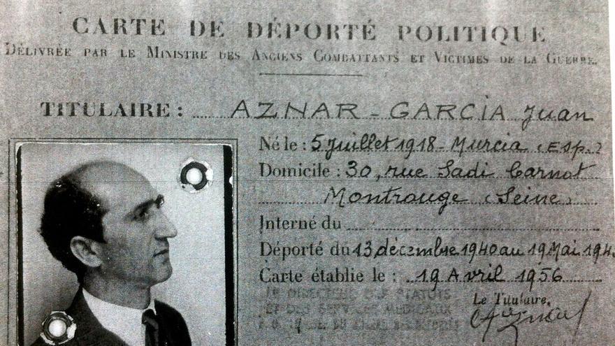 Carta de deportado político de Juan Aznar