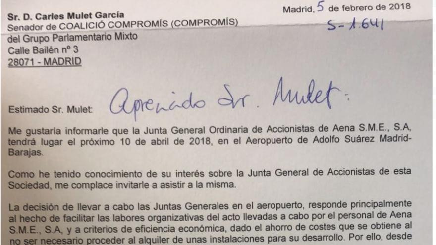 Carta del presidente de Aena, Jaime García Legaz, al senador de Compromis, Carles Mulet, sobre el coste de las juntas de accionistas.