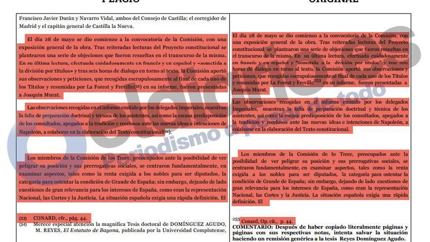 Comparativa del trabajo del rector y la tesis, con nota al pie