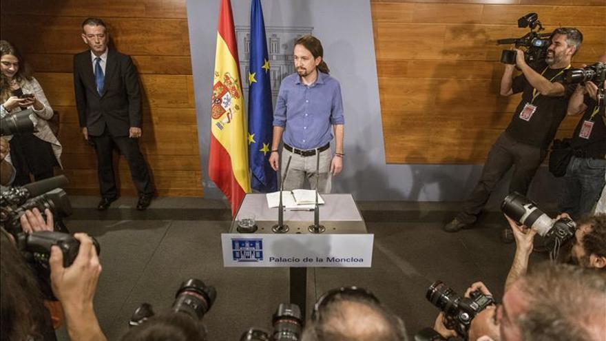Pablo Iglesias, en una rueda de prensa en Moncloa.