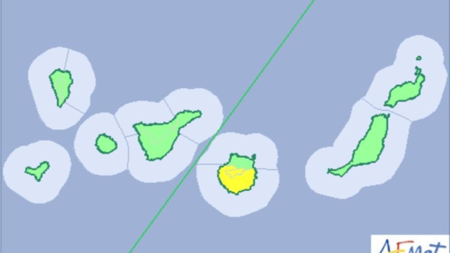 Mapa de alertas por altas temperaturas en Canarias el jueves 22 de junio de 2017