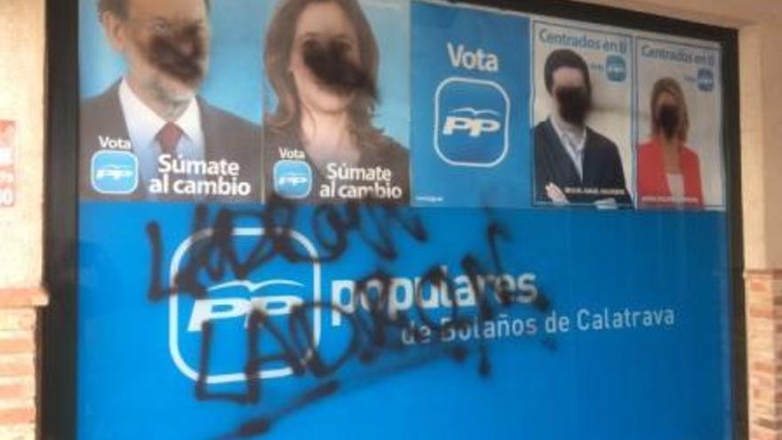 Pintadas en la sede del PP en Bolaños de Calatrava (Ciudad Real) / Foto: PP Bolaños