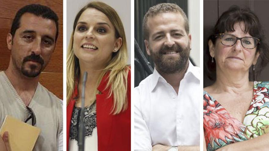Los candidatos a liderar Podemos en Canarias (izq-drcha): Eloy Cuadra, Noemí Santana, Juan Márquez y Consuelo Monzón.