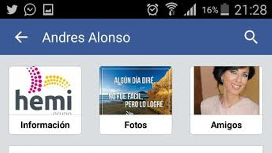Mensaje publicado por el empresario Andrés Alonso en su muro de Facebook.