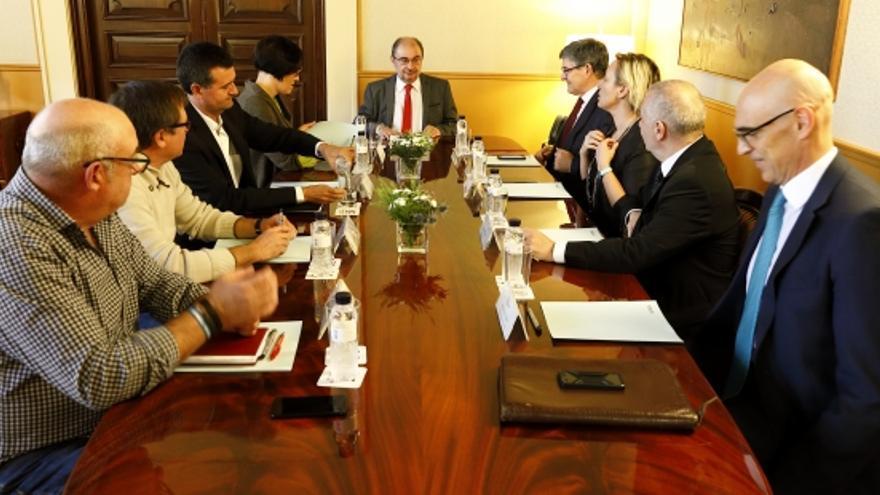 Reunión mantenida esta mañana en la sede del Gobierno de Aragón