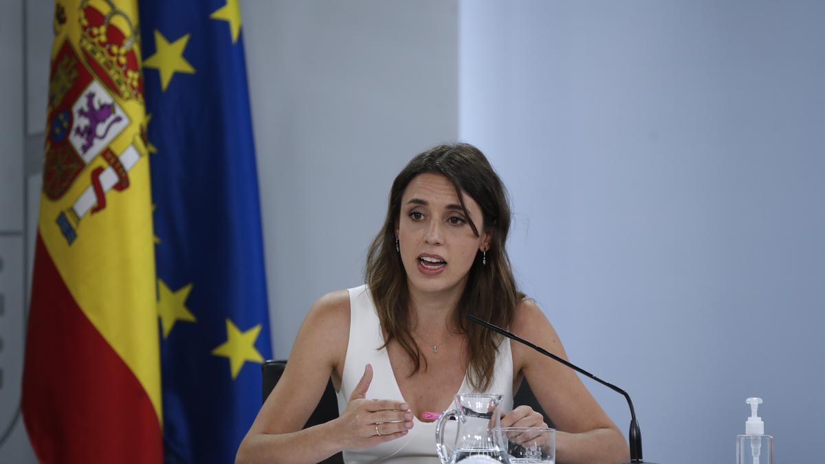 La ministra de Igualdad, Irene Montero, en la rueda de prensa posterior a la reunión del Consejo de Ministros que ha aprobado la 'ley trans'