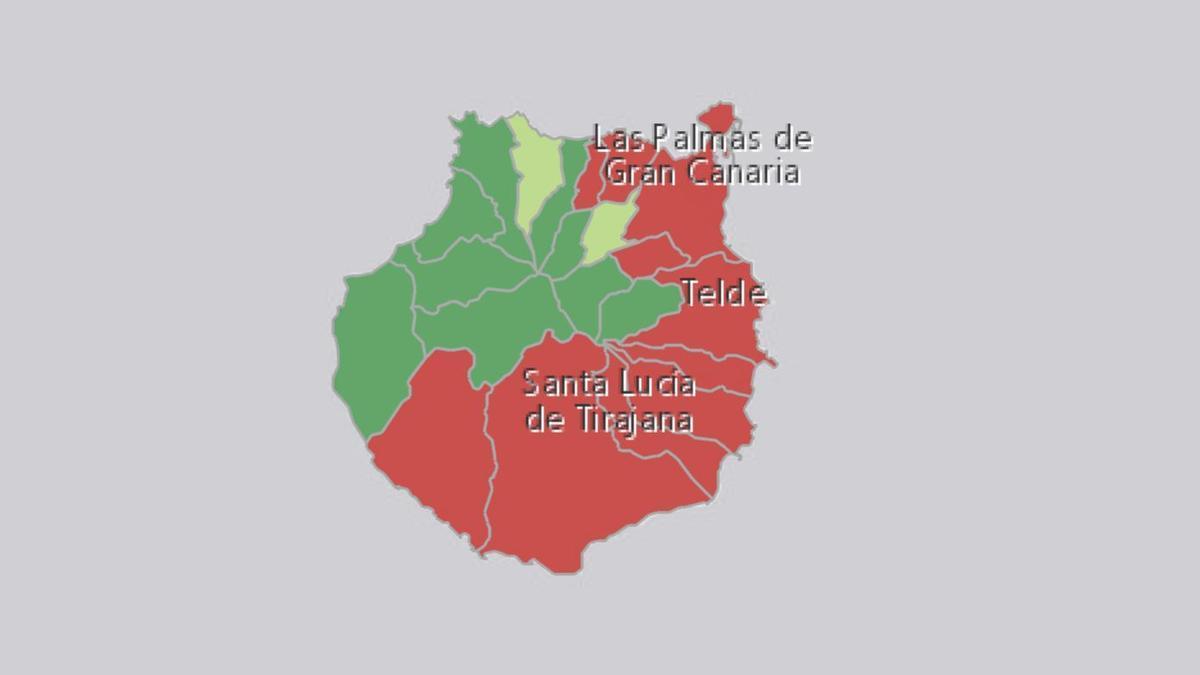 Mapa de los casos activos en Gran Canaria
