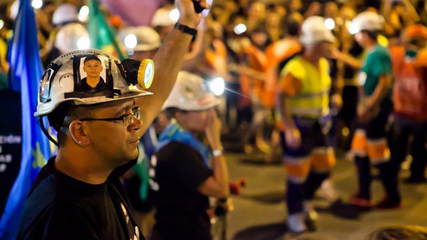 Mineros en las calles de Madrid en julio de 2012. Foto: Antonio Rull
