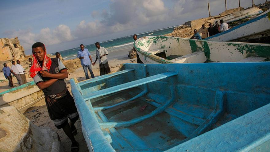 Pescadores en una playa de Mogadiscio.