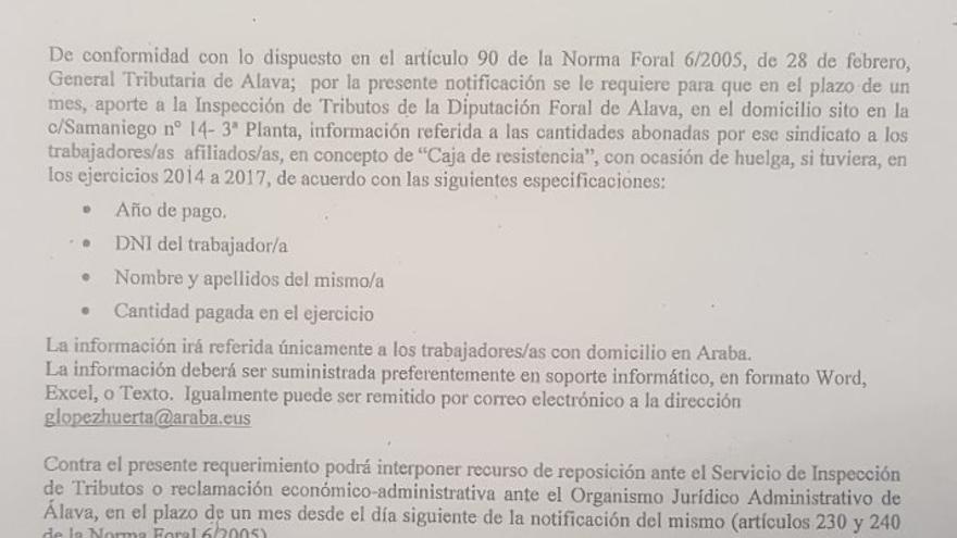 La carta remitida por la Hacienda alavesa a los diferentes sindicatos vascos.