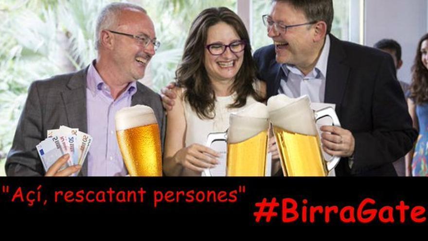Antonio Montiel (Podemos), Mónica Oltra (Compromís) y Ximo Puig (PSPV-PSOE), en un meme difundido en algunas cuentas del PP.