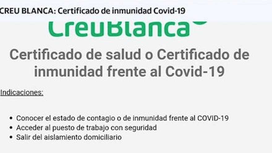 Oferta de test de coronavirus de Creu Blanca