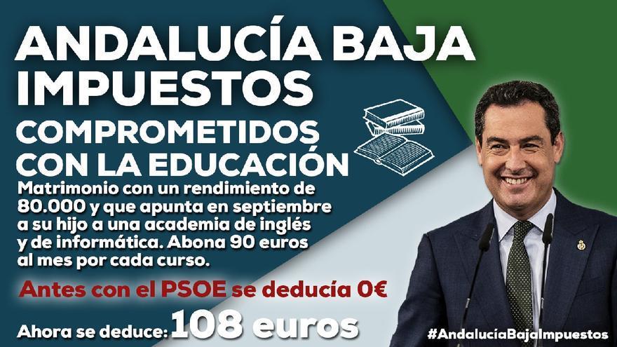 Cartel publicitario del PP andaluz sobre la deducción fiscal por gastos educativos de la Ley de Tributos Cedidos