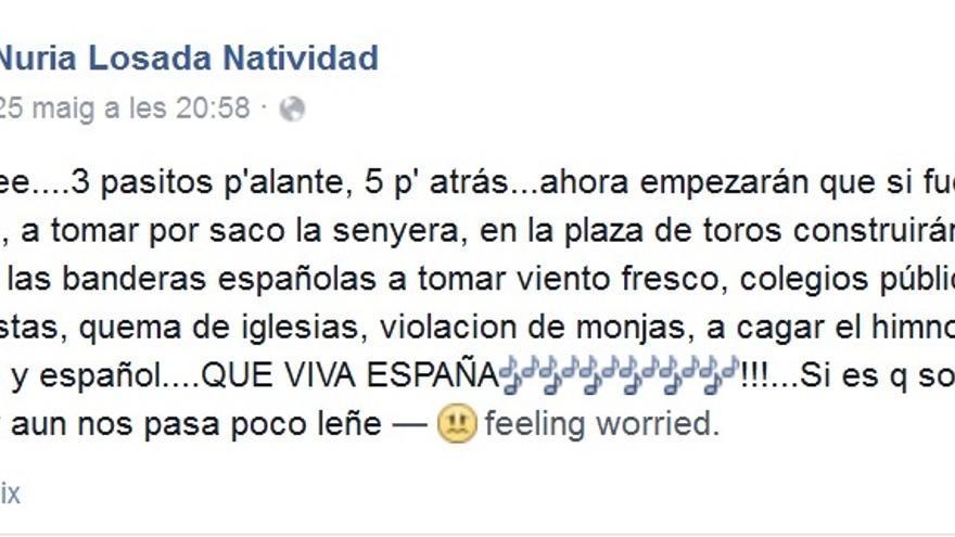 Imagen del comentario de Nuria Losada en su perfil de facebook