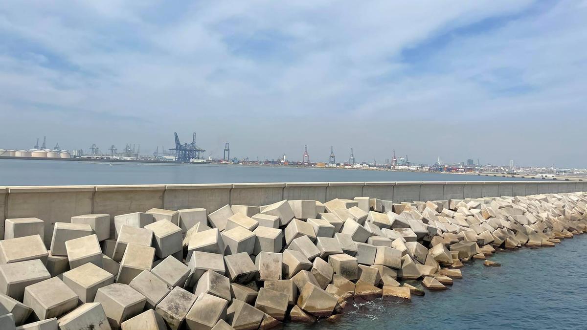 Dic nord del Port de València amb les grues al fons.