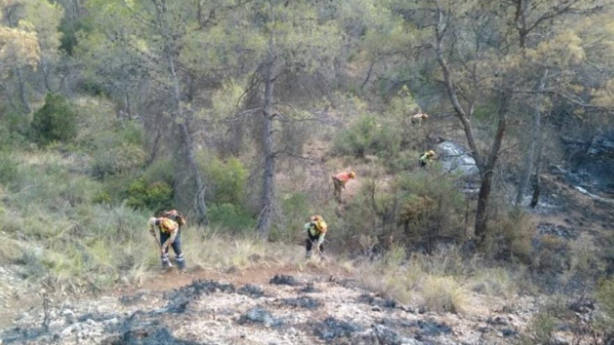 Efectivos trabajando en el incendio de Liétor