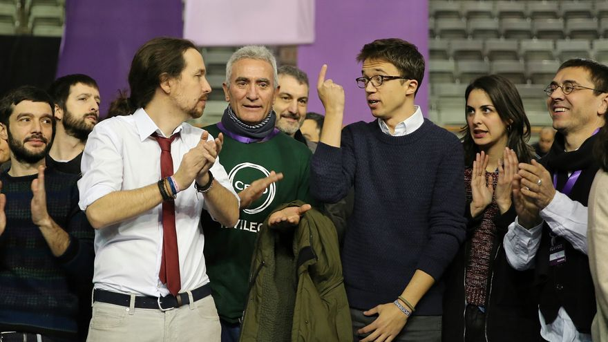 Pablo Iglesias, Diego Cañamero, Íñigo Errejón, Rita Maestre y Juan Carlos Monedero en Vistalegre 2.