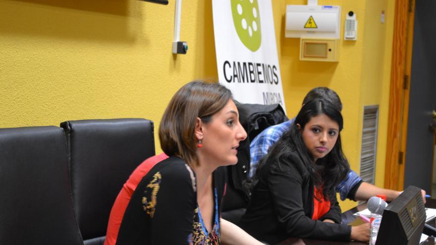 Lola Sánchez, eurodiputada de Podemos, y Margarita Guerrero, concejala de Cambiemos en el Ayuntamiento de Murcia