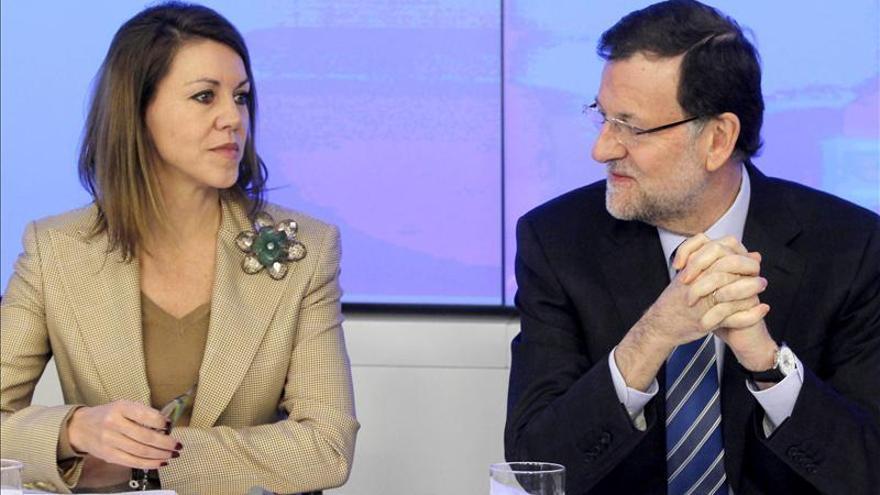 María Dolores de Cospedal y Mariano Rajoy, en una reunión del comité ejecutivo nacional.