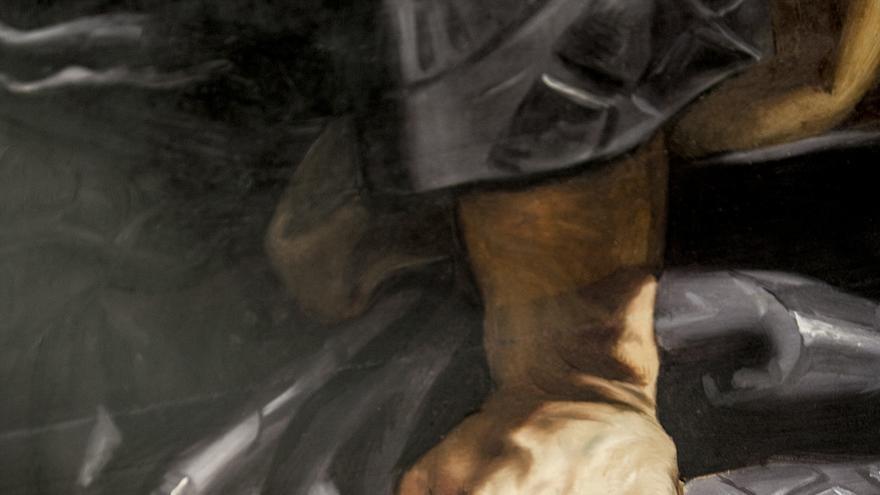 Detalle de la restauración de una mano en el cuadro ''Susana y los viejos'