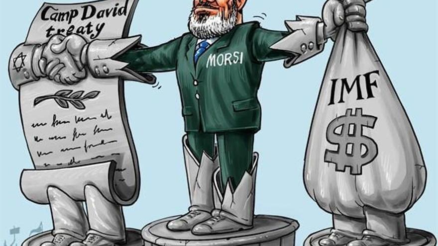 Viñeta irónica que muestra a Morsi aferrado al Tratado de Camp David y al FMI