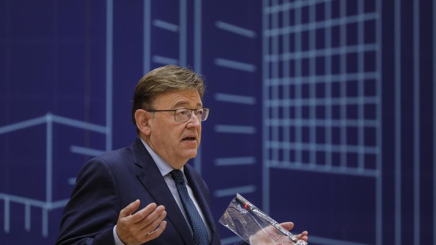 El presidente de la Generalitat valenciana, Ximo Puig, interviene en la presentación de las actuaciones del Plan de Eficiencia Energética en Edificios Judiciales, en la Ciudad de la Justicia, a 19 de julio de 2021, en Valencia, Comunidad Valenciana (Españ