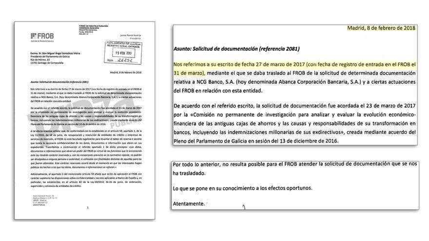 Fragmentos de la respuesta del FROB a la petición de documentación del Parlamento de Galicia