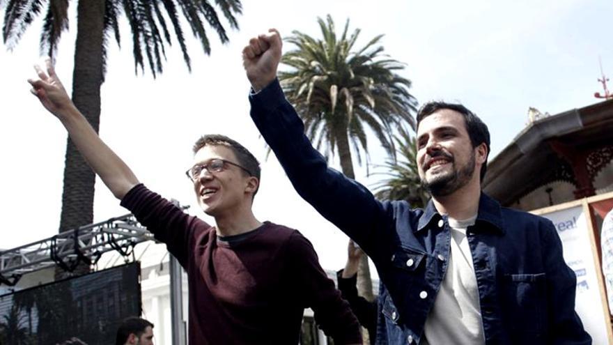 Iñigo Errejón y Alberto Garzón en un acto de campaña de Unidos Podemos en el mes de junio