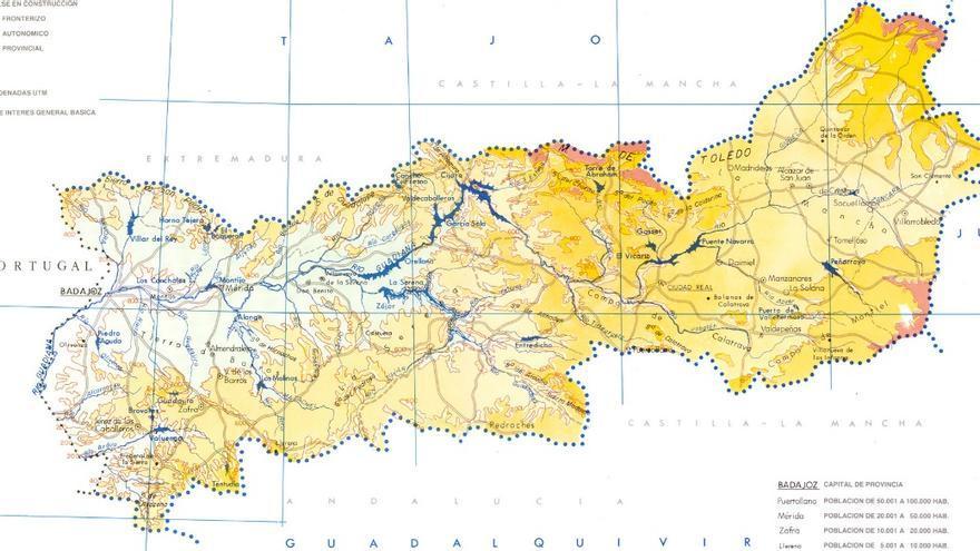 Mapa de la cuenca del Guadiana que afecta a cuatro provincias de Castilla-La Mancha