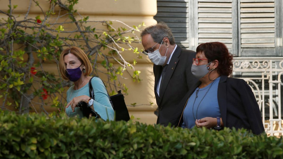 El expresidente de la Generalitat, Quim Tora con Forcadell (i) y Bassa (d).